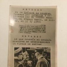 Militaria: RECORTE DE EL CORREO VASCO 1946 Y FOTOGRAFIA DEL ENCUENTRO ENTRE FRANCO Y HITLER EN HENDAYA 1940. Lote 236169415