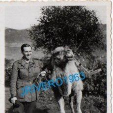 Militaria: ANTIGUA FOTOGRAFIA, MILITAR CON UN CAMELLO, 58X86MM. Lote 236239755
