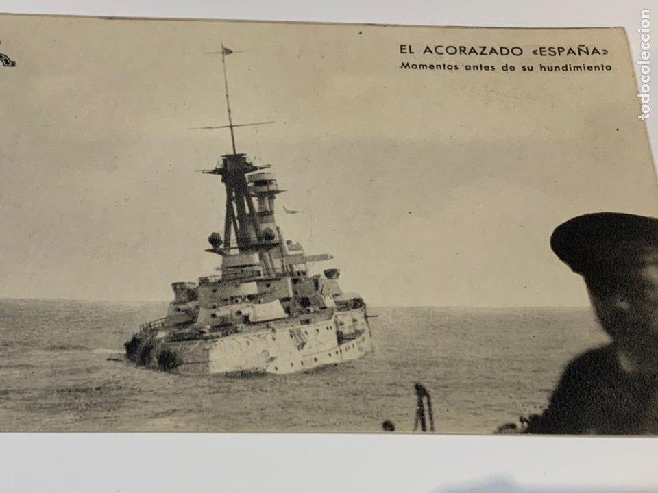 POSTAL GUERRA CIVIL ACORAZADO ESPAÑA ANTES DE SU HUNDIMIENTO (Militar - Fotografía Militar - Guerra Civil Española)