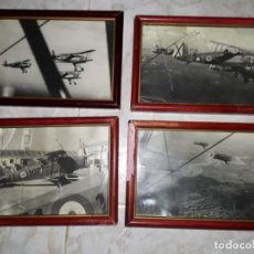 Militaria: LOTE DE CUATRO FOTOGRAFÍAS ENMARCADAS DE AVIONES EN PLENO VUELO DEL BANDO NACIONAL. Lote 242967615