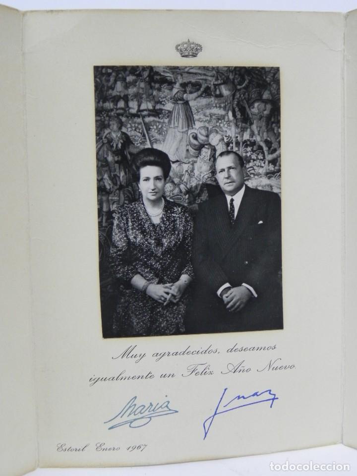 Militaria: Felicitacion navideña original de Don Juan de Borbon y doña Maria, firmas manuscrita, Estoril 1967, - Foto 2 - 257327490