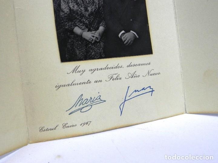 Militaria: Felicitacion navideña original de Don Juan de Borbon y doña Maria, firmas manuscrita, Estoril 1967, - Foto 3 - 257327490