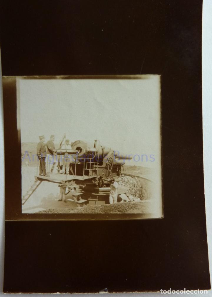 FOTOGRAFÍA ANTIGUA. LAS PALMAS DE G.C. PROYECTIL. CAÑÓN Y ARTILLEROS. ÉPOCA ALFONSO XIII (9 X 6 CM) (Militar - Fotografía Militar - Otros)