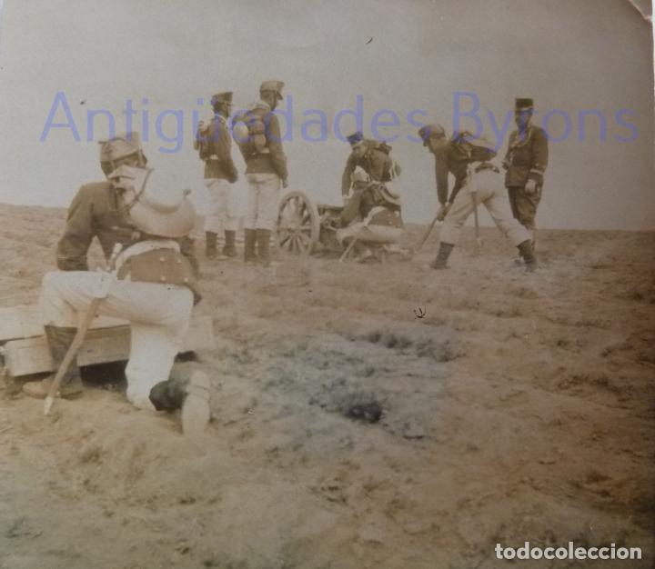Militaria: FOTOGRAFÍA ANTIGUA. LAS PALMAS DE G.C. ARTILLEROS DE MANIOBRAS. ÉPOCA ALFONSO XIII (8 X 8 CM) - Foto 2 - 257597165