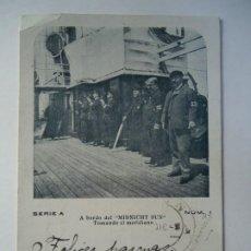Militaria: POSTAL 1920 A BORDO DEL MIDNICHT SUN - TOMANDO EL MERIDIANO , SERIE A - NUM.1 CRUZADA CON SELLO DE A. Lote 260857650