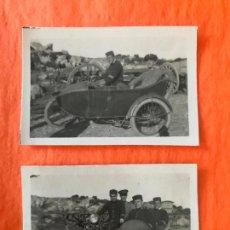Militaria: INTERESANTE 2 FOTOGRAFIAS MILITAR EN MOTO CON SIDECAR, HECHA EN HOSPITAL DE LA ALCAZABA, TETUAN 1921. Lote 267402229