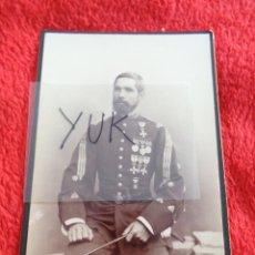 Militaria: FOTOGRAFIA ALBUMINA DE CORONEL ESPAÑOL DEL SIGLO XIX MUY CONDECORADO - FOTOGRAFO MATORRODONA. Lote 269996678