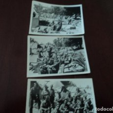 Militaria: 3 ANTIGUAS FOTOGRAFIAS DE MILITARES EN CAMPAMENTO O MANIOBRAS 9 X 6 CM. Lote 271547773
