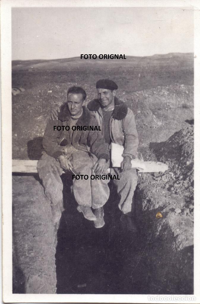 UTRILLAS TERUEL CUENCAS MINERAS PILOTOS ITALIANOS TRINCHERA AERODROMO GUERRA CIVIL (Militar - Fotografía Militar - Guerra Civil Española)