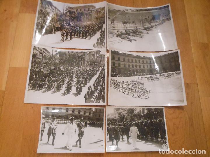 6 FOTOGRAFIAS CON BENITO MUSSOLINI PASANDO REVISTA MILITAR MILAN ITALIA MOTOS - ORIGINAL (Militar - Fotografía Militar - II Guerra Mundial)