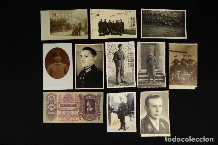 ANTIGUO CONJUNTO DE FOTOGRAFIAS DE SOLDADOS ALEMANES Y UN BILLETE (Militar - Fotografía Militar - II Guerra Mundial)