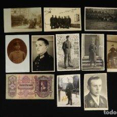 Militaria: ANTIGUO CONJUNTO DE FOTOGRAFIAS DE SOLDADOS ALEMANES Y UN BILLETE. Lote 284801653