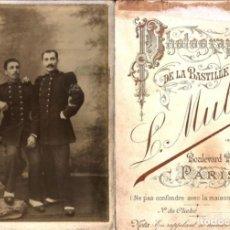 Militaria: X226 - PAR DE HOMBRES CON UNIFORMES SOLDADOS FRANCECES WW1 FOTO CDV 16X11CM 1917 L MULOT LA BASTILLA. Lote 289887533