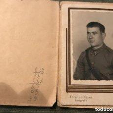 Militaria: ANTIGUA FOTOGRAFÍA MILITAR SOLDADO ARTILLERÍA GUERRA CIVIL ESPAÑOLA SEO DE URGEL FOTO DIEGO. Lote 293359348