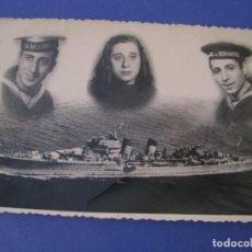 Militaria: FOTO DE UN MARINERO. MONTAJE CON SU NOVIA Y EL BARCO. CRUCERO MIGUEL CERVANTES. 13X9 CM. 1949.. Lote 295450018