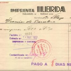Militaria: (GUERRA CIVIL)FACTURA PARA TRANVIAS DE BARCELONA CNT-AIT. Lote 2037542