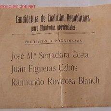 Militaria: PAPELETA DE VOTACIÓN, CANDIDATURA DE COALICIÓN REPUBLICANA PARA DIPUTADOS PROVINCIALES. Lote 13839914
