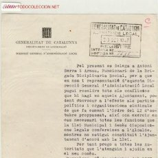 Militaria: (GUERRA CIVIL)DOCUMENTO GOVERNACIO. Lote 1520428