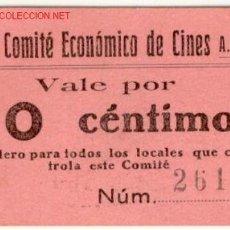 Militaria: (GUERRA CIVIL)VALE 10 CTS.CNT COMITE ECONOMICO DE CINES AIT. Lote 1983719
