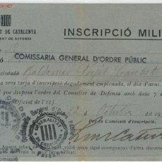 Militaria: (GUERRA CIVIL)INSCRIPCION MILITAR. Lote 1993037