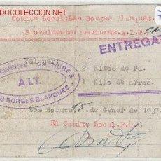 Militaria: (GUERRA CIVIL)VALE 2 KG.DE PAN CNT-AIT. Lote 1160889