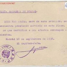 Militaria: (GUERRA CIVIL)CERTIFICADO PARA SOLDADO EJERCITO POPULAR. Lote 1164866