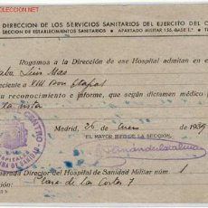 Militaria: (GUERRA CIVIL)DOCUMENTO SERVICIOS SANITARIOS EJERCITO DEL CENTRO. Lote 1164862