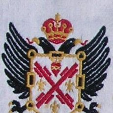 Militaria: DISTINTIVO CARLISTA. ÁGUILA BICÉFALA, CON ASPAS DE SAN ANDRÉS. TELA.. Lote 12238354