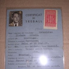 Militaria: CARNET CERTIFICAT DE TREBALL 1938. Lote 5413344