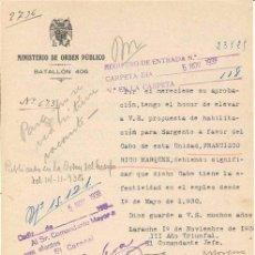 Militaria: ESCRITO MILITAR GUERRA CIVIL. ESTADO ESPAÑOL. MINISTERIO DE ORDEN PÚBLICO. BATALLÓN 406. 1938. . Lote 4633088