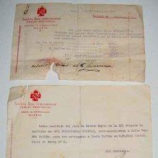 Militaria: ANTIGUOS RECIBOS ORIGINALES DEL SOCORRO ROJO INTERNACIONAL, COMITE PROVINCIAL - DE 3 DE NOVIEMBRE DE. Lote 8688933
