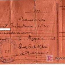 Militaria: AUTORIZACIÓN MILITAR PARA PASAJE DE TROPA HUESCA A BARCELONA - 1935. Lote 27137404