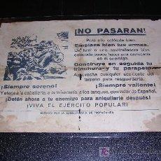 Militaria: HOJA VOLANTE, ¡ NO PASARAN ! VIVA EL EJERCITO POPULAR, EDITADO POR LA SUBSECRETARIA DE PROPAGANDA,. Lote 27529548