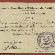 Militaria: FICHA ALTA DE HERIDO DEL TERCIO MOLA CON SALIDA DEL HOSPITAL VALDECILLA DE SANTANDER. 1938-39. Lote 23099625