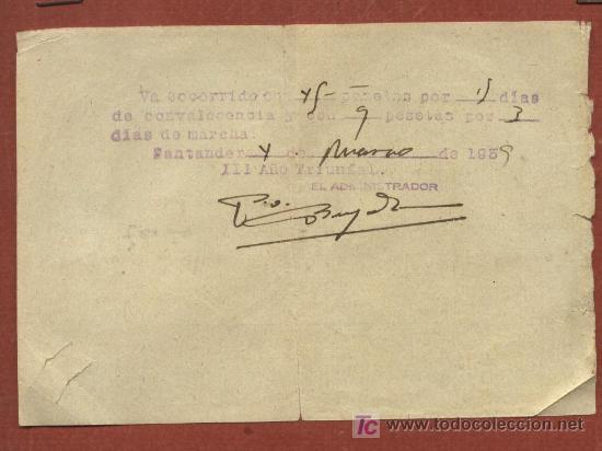 Militaria: Ficha alta de herido del Tercio Mola con salida del Hospital Valdecilla de Santander. 1938-39 - Foto 2 - 23099625
