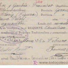 Militaria: SOLICITUD DE INSCRIPCION AL REQUETE,CON FECHA 25 DE FEBRERO DE 1937,. Lote 7791223