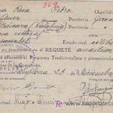 Militaria: SOLICITUD DE INSCRIPCION AL REQUETE,CON FECHA 23 DE DICIEMBRE DE 1936. Lote 7791277
