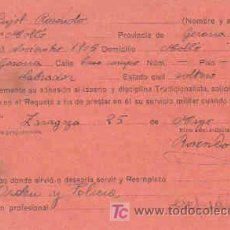Militaria: SOLICITUD DE INSCRIPCION AL REQUETE,CON FECHA 25 DE MAYO DE 1938. Lote 7791324