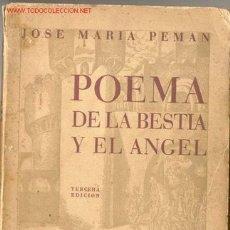 Militaria: 1939.POEMA DE LA BESTIA Y EL ANGEL. JOSE MARIA PEMAN GUERRA CIVIL. Lote 26610372