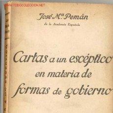 Militaria: 1937.CARTAS A UN ESCÉPTICO EN MATERIA DE FORMAS DE GOBIERNO. Lote 31837087