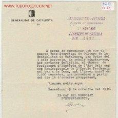 Militaria: DOCUMENTO GENERALITAT DE CATALUNYA. Lote 1800331