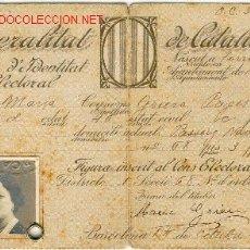 Militaria: (GC-282) CARNET ELECTORAL GENERALITAT DE CATALUNYA. Lote 2057965