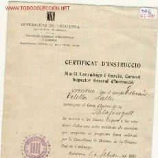 Militaria: (GC-290)CERTIFICADO DE INSTRUCCION CONSELLERIA DE DEFENSA DE LA GENERALITAT DE CATALUNYA. Lote 2101842