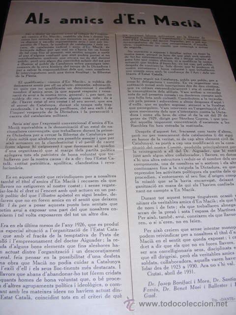 REPUBLICA-PANFLETO.ALS AMICS D'EN MACIA.BARCELONA ABRIL 1931,TIPG. DANTE,32X22 CM. - (Militar - Guerra Civil Española)