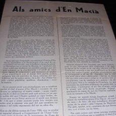 Militaria - REPUBLICA-PANFLETO.ALS AMICS D'EN MACIA.BARCELONA ABRIL 1931,TIPG. DANTE,32X22 CM. - - 9805129