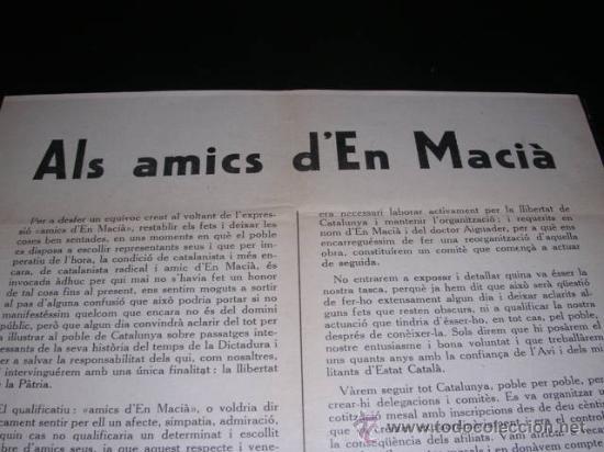 Militaria: REPUBLICA-PANFLETO.ALS AMICS D'EN MACIA.BARCELONA ABRIL 1931,TIPG. DANTE,32X22 CM. - - Foto 2 - 9805129