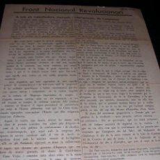 Militaria: REPUBLICA.FRONT NACIONAL REVOLUCIONARI, ABRIL,1935 A TOTS ELS TRABALLADORS,MANUALS I INTEL.LECTUALS . Lote 9806664