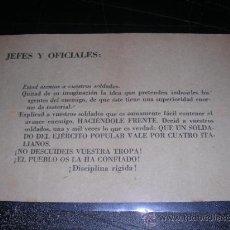 Militaria: PANFLETO GUERRA CIVIL.JEFES Y OFICIALES,QUE UN SOLDADO DEL EJERCITO POPULAR VALE POR CUATRO ITALIANO. Lote 11906803