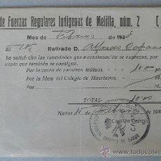Militaria: DOCUMENTO GRUPO DE REGULARES MELILLA Nº 2. Lote 26643537