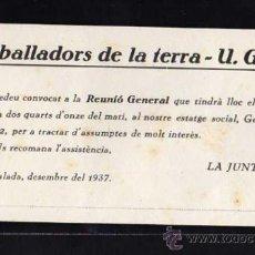 Militaria: IGUALADA , DESEMBRE DEL 1937 - TREBALLADORS DE LA TERRA - UGT, REUNIO GENERAL , LA JUNTA. Lote 10725109